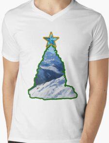 Christmas Tree Snow Scene Mens V-Neck T-Shirt