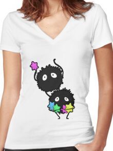 soot sprites! Women's Fitted V-Neck T-Shirt