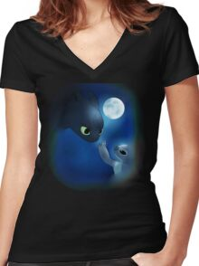 How to Train Stitch's Dragon Women's Fitted V-Neck T-Shirt