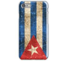 Vintage Aged and Scratched Cuban Flag iPhone Case/Skin