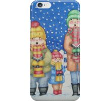 funny carol singers in the snow Christmas art iPhone Case/Skin