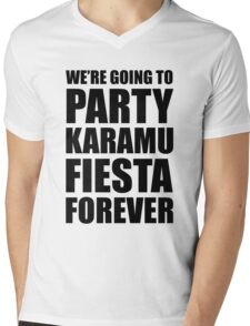 Party Karamu Fiesta Forever (Black Text) Mens V-Neck T-Shirt