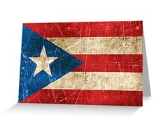 Vintage Aged and Scratched Puerto Rican Flag Greeting Card