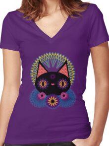 Dark Floral Feline Charm T-shirt femme moulant col V