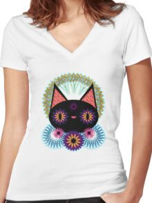 Dark Floral Feline Charm Women's Fitted V-Neck T-Shirt