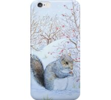 Cute grey squirrel snow scene wildlife art  iPhone Case/Skin