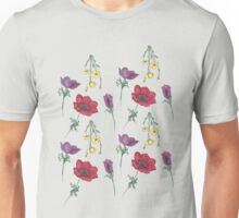 Watercolor Flower Pattern Unisex T-Shirt