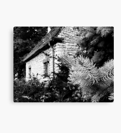 Black and White of a Small House  Canvas Print
