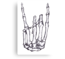 Rock On Skeleton Hand  Canvas Print