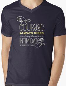 "Jane Austen: ""My Courage Always Rises"" Mens V-Neck T-Shirt"