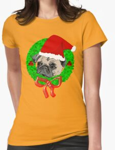 Christmas Pug Womens Fitted T-Shirt