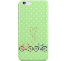 Bike lovers. Green polka dots background. iPhone Case/Skin