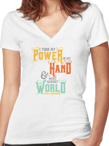"Emily Dickinson: ""I took my power"" Women's Fitted V-Neck T-Shirt"