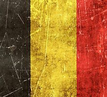 Vintage Aged and Scratched Belgian Flag by Jeff Bartels