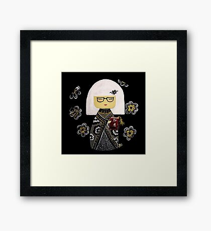 White Kimi Doll Framed Print