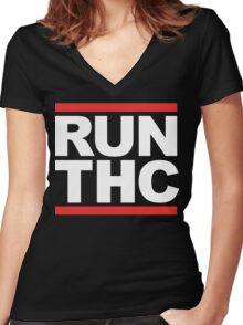 RUN THC (Parody) White Ink Women's Fitted V-Neck T-Shirt