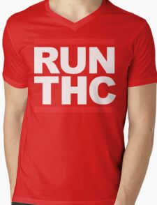 RUN THC (Parody) White Ink Mens V-Neck T-Shirt