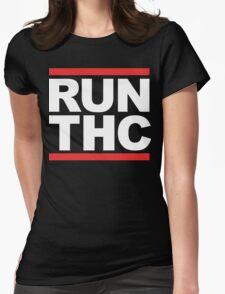 RUN THC (Parody) White Ink Womens Fitted T-Shirt