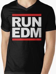 RUN EDM (Parody) White Ink Mens V-Neck T-Shirt