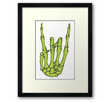 Rock On Skeleton Hand - Green Framed Print