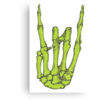 Rock On Skeleton Hand - Green Canvas Print