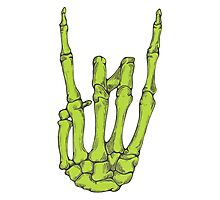 Rock On Skeleton Hand - Green Photographic Print