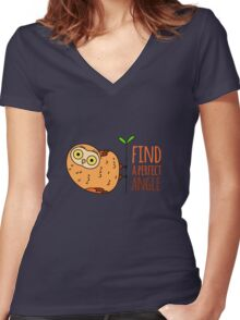 Owl wisdom. Find a perfect angle. Women's Fitted V-Neck T-Shirt