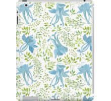 Watercolor leaves and blue flowers pattern iPad Case/Skin
