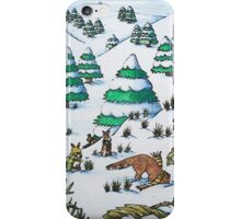 cute fox and rabbits christmas snow scene iPhone Case/Skin