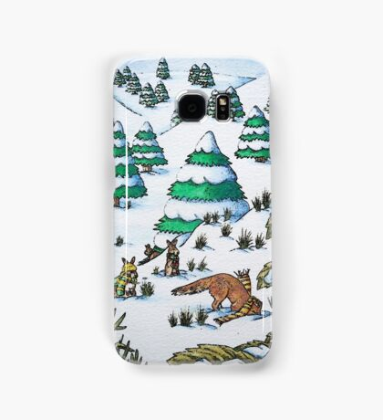 cute fox and rabbits christmas snow scene Samsung Galaxy Case/Skin