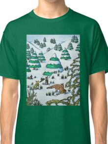 cute fox and rabbits christmas snow scene Classic T-Shirt