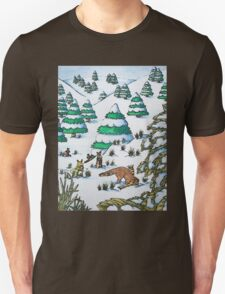 cute fox and rabbits christmas snow scene T-Shirt