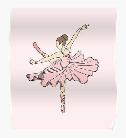 Cute Pink Princess Dance Ballerina Poster
