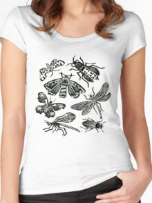 Insect Collection Lino Prints Women's Fitted Scoop T-Shirt