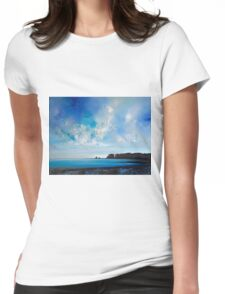 Blue Ocean Landscape Painting Womens Fitted T-Shirt