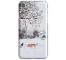 dog snow scene landscape with trees & rooftops art iPhone Case/Skin