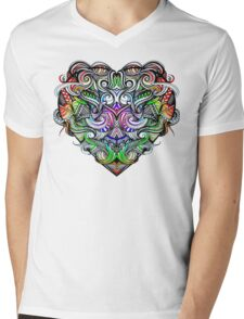 One Love Colorful Rainbow Hand Drawn Heart Design Mens V-Neck T-Shirt