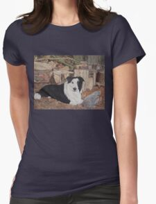 border collie in log shed with chickens portrait Womens Fitted T-Shirt