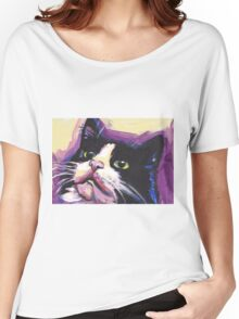 Tuxedo Cat Bright colorful pop kitty art Women's Relaxed Fit T-Shirt