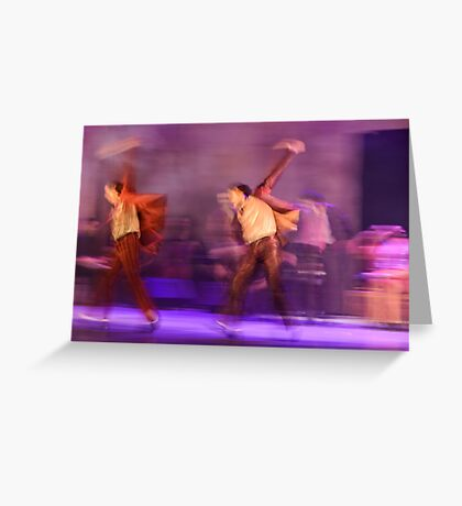 Group of contemporary dancers performing on stage Greeting Card