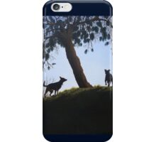 Dogs in park snow landscape painting realist art   iPhone Case/Skin
