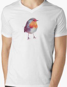 Winter Robin Mens V-Neck T-Shirt