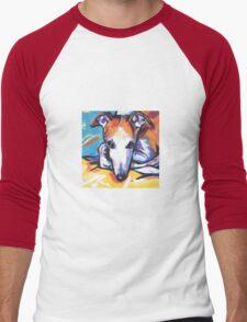 Whippet Dog Bright colorful pop dog art Men's Baseball ¾ T-Shirt