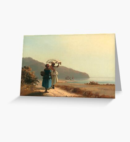 Two Women Chatting by the Sea Greeting Card