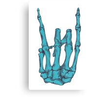 Rock On Skeleton Hand - Blue Canvas Print