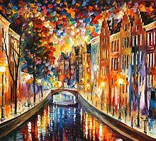 AMSTERDAM - NIGHT CANAL - Leonid Afremov by Leonid Afremov