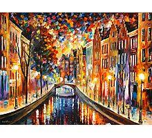 AMSTERDAM - NIGHT CANAL - Leonid Afremov Photographic Print