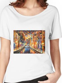 AMSTERDAM - NIGHT CANAL - Leonid Afremov Women's Relaxed Fit T-Shirt