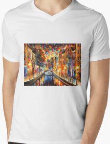 AMSTERDAM - NIGHT CANAL - Leonid Afremov Mens V-Neck T-Shirt