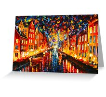 NIGHT COPENHAGEN - Leonid Afremov Greeting Card
